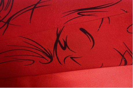 Сатин принт флок Dark-Red